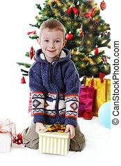 Smiling boy holding present under Christmas tree