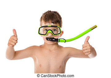 Smiling boy in diving mask with thumb up sign