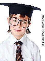 smiling  boy in glasses