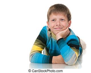 Smiling boy in striped shirt