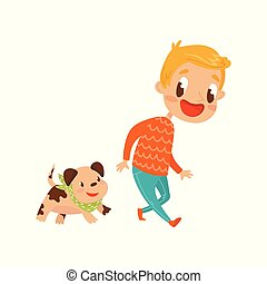 Smiling boy playing with his dog, cute cartoon character vector Illustration on a white background