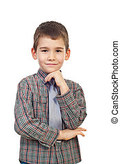 Smiling boy posing with hand to chin