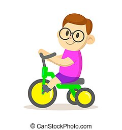 Smiling boy riding a bicycle. Sport and fitness. Cartoon vector flat illustration. Isolated on white background.
