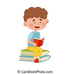 Smiling Boy Sitting on Pile of Books and Reading Vector Illustration
