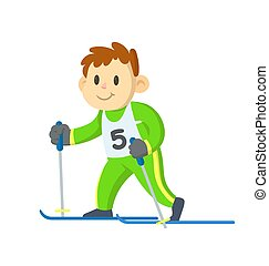 Smiling boy skiing. Flat vector illustration, isolated on white background.
