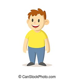 Smiling boy standing straight, cartoon character design. Flat vector illustration, isolated on white background.
