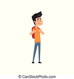 Smiling boy standing with backpack vector Illustration on a white background