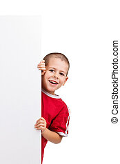 Smiling boy with board
