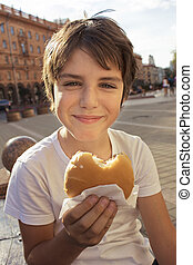 boy with hamburger