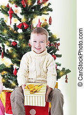 Smiling boy with present under Christmas tree