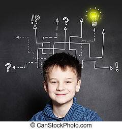 Smiling boy with question signs and light idea bulb, education concept