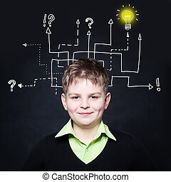 Smiling boy with question signs and light idea bulb