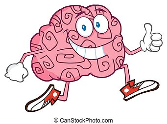 Smiling Brain Character Jogging