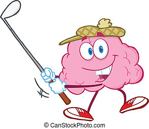 Smiling Brain Swinging A Golf Club