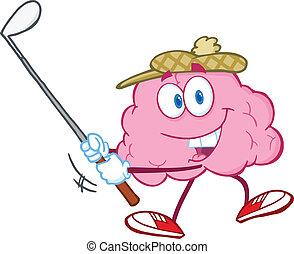 Smiling Brain Swinging A Golf Club - Smiling Brain Cartoon...