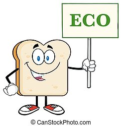 Smiling Bread Slice Holding A Sign