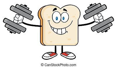 Smiling Bread Slice With Dumbbells
