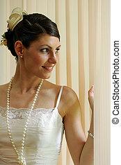 Smiling bride peeping