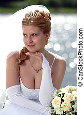 Smiling bride with veil