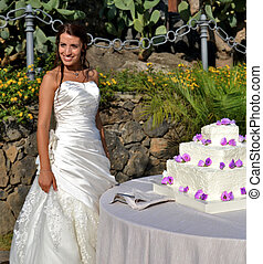 Smiling bride with wedding cake
