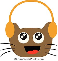 Smiling brown cat with headphones vector illustration on white background.