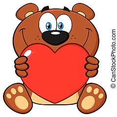 Smiling Brown Teddy Bear Cartoon Mascot Character Holding A Valentine Love Heart