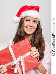 Smiling brunette and Christmas