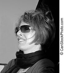 Smiling Brunette Black and White Portrait