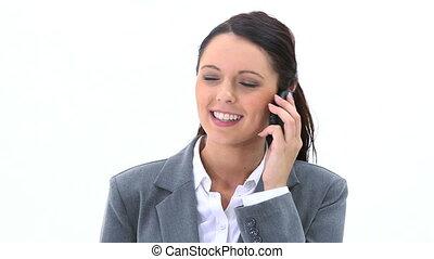 Smiling brunette calling
