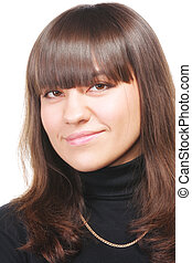 Smiling brunette in black