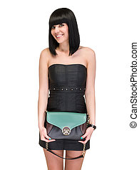 Smiling brunette lady with handbag