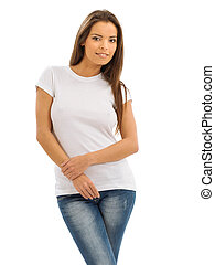 Smiling brunette wearing blank white shirt