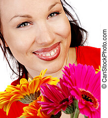 smiling brunette with flowers