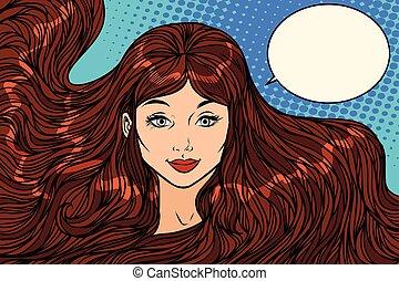 smiling brunette with long hair. Pop art retro vector...