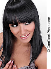 Smiling brunette woman hair cut