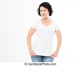 Smiling brunette woman in blank white t-shirt isolated. T shirt mock up, copy space