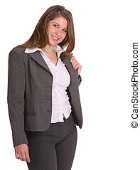 Smiling buisness woman in suit. Isolated.