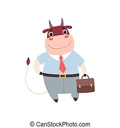 Smiling Bull Businessman Wearing Formal Clothes, Cute Farm Animal Cartoon Character Standing with Briefcase Vector Illustratio