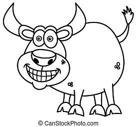 smiling bull for coloring