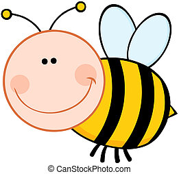 Smiling Bumble Bee Cartoon Mascot Character Flying
