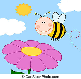 Bumble Bee Flying Over Flower - Smiling Bumble Bee Flying ...