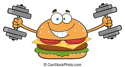 Smiling Burger With Dumbbells