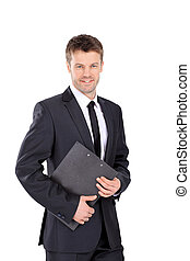 Smiling business man isolated on white - Portrait of a...