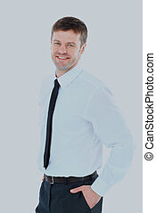 Smiling business man. Isolated over white background.