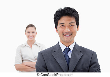 Smiling business people posing