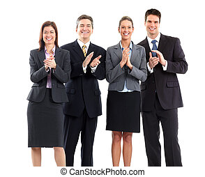 Smiling business people team clapping. Isolated over white background