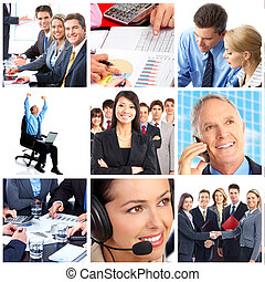 business people - Smiling business people team working in...