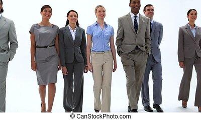 Smiling business people walking