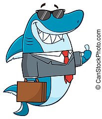 Smiling Business Shark Character