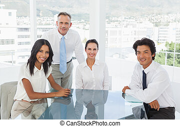 Smiling business team in an office